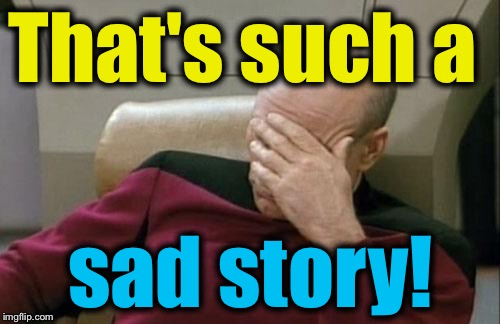 Captain Picard Facepalm Meme | That's such a sad story! | image tagged in memes,captain picard facepalm | made w/ Imgflip meme maker