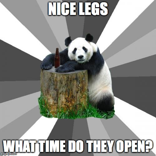 Pickup Line Panda |  NICE LEGS; WHAT TIME DO THEY OPEN? | image tagged in memes,pickup line panda | made w/ Imgflip meme maker