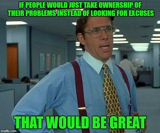 That Would Be Great Meme | IF PEOPLE WOULD JUST TAKE OWNERSHIP OF THEIR PROBLEMS INSTEAD OF LOOKING FOR EXCUSES THAT WOULD BE GREAT | image tagged in memes,that would be great | made w/ Imgflip meme maker