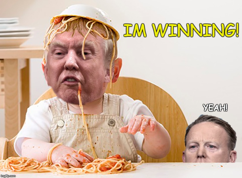 all kinds of winning | IM WINNING! YEAH! | image tagged in trump,winning,spicer | made w/ Imgflip meme maker