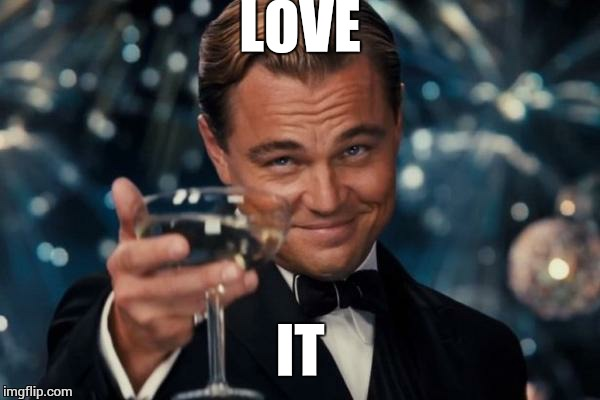Leonardo Dicaprio Cheers Meme | LOVE IT | image tagged in memes,leonardo dicaprio cheers | made w/ Imgflip meme maker