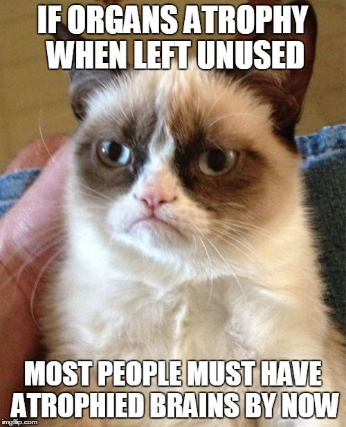Grumpy Cat Meme | IF ORGANS ATROPHY WHEN LEFT UNUSED MOST PEOPLE MUST HAVE ATROPHIED BRAINS BY NOW | image tagged in memes,grumpy cat | made w/ Imgflip meme maker