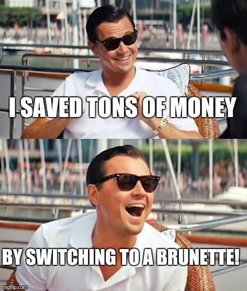 Leonardo Dicaprio Wolf Of Wall Street Meme | I SAVED TONS OF MONEY BY SWITCHING TO A BRUNETTE! | image tagged in memes,leonardo dicaprio wolf of wall street | made w/ Imgflip meme maker