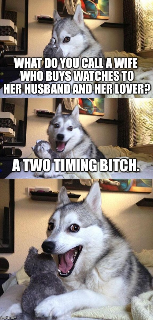 Bad Pun Dog Meme | WHAT DO YOU CALL A WIFE WHO BUYS WATCHES TO HER HUSBAND AND HER LOVER? A TWO TIMING B**CH. | image tagged in memes,bad pun dog | made w/ Imgflip meme maker