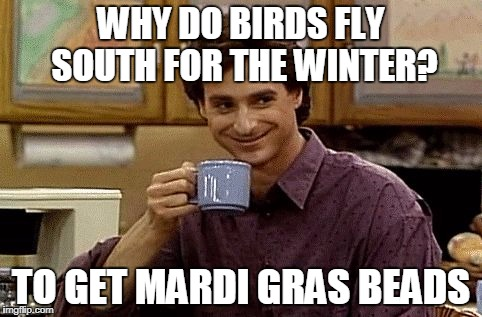 WHY DO BIRDS FLY SOUTH FOR THE WINTER? TO GET MARDI GRAS BEADS | image tagged in dad joke | made w/ Imgflip meme maker