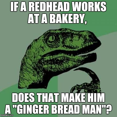 "Philosoraptor Meme | IF A REDHEAD WORKS AT A BAKERY, DOES THAT MAKE HIM A ""GINGER BREAD MAN""? 