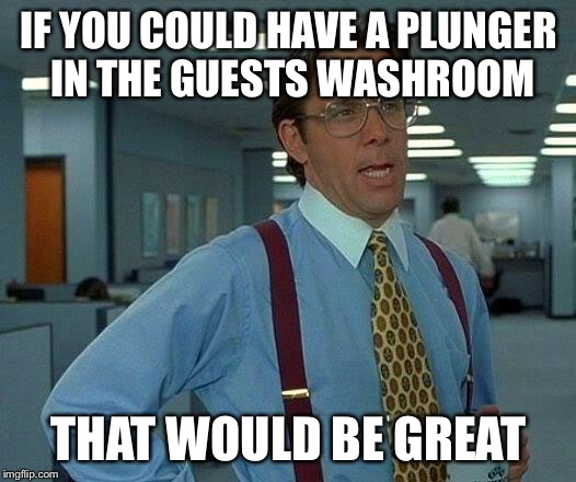 That Would Be Great Meme | IF YOU COULD HAVE A PLUNGER IN THE GUESTS WASHROOM THAT WOULD BE GREAT | image tagged in memes,that would be great | made w/ Imgflip meme maker