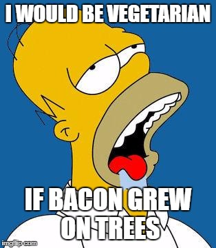 So True... XD | I WOULD BE VEGETARIAN IF BACON GREW ON TREES | image tagged in homer drooling,memes | made w/ Imgflip meme maker