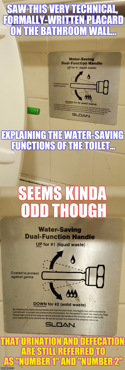 Sometimes a sophomoric euphemism seems like the most appropriate choice of words... | SAW THIS VERY TECHNICAL, FORMALLY-WRITTEN PLACARD ON THE BATHROOM WALL... EXPLAINING THE WATER-SAVING FUNCTIONS OF THE TOILET... SEEMS KINDA | image tagged in memes,toilet humor,funny,pee-pee time,phunny | made w/ Imgflip meme maker