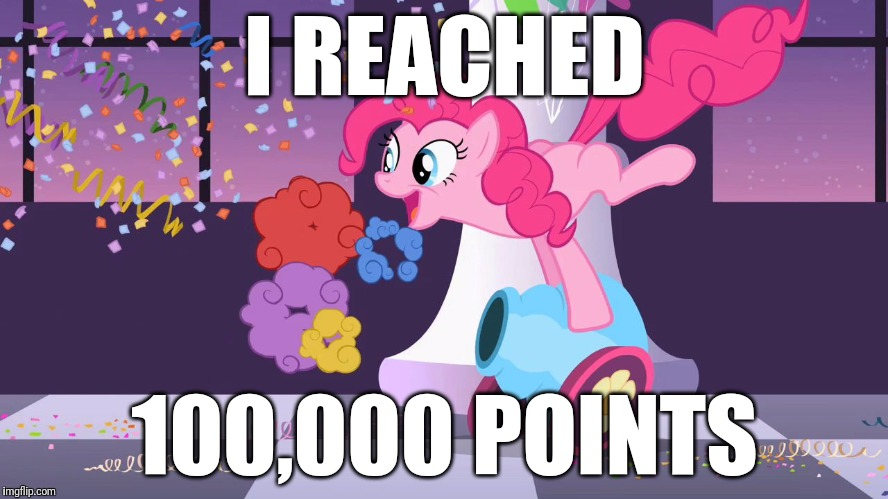 Thank you guys so much for helping me reach this milestone! | I REACHED 100,000 POINTS | image tagged in pinkie pie's party cannon explosion,memes,points,xanderbrony | made w/ Imgflip meme maker