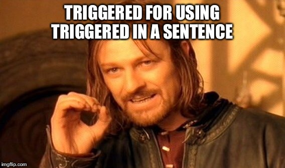 One Does Not Simply Meme | TRIGGERED FOR USING TRIGGERED IN A SENTENCE | image tagged in memes,one does not simply | made w/ Imgflip meme maker