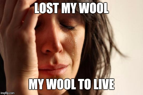 First World Problems Meme | LOST MY WOOL MY WOOL TO LIVE | image tagged in memes,first world problems | made w/ Imgflip meme maker