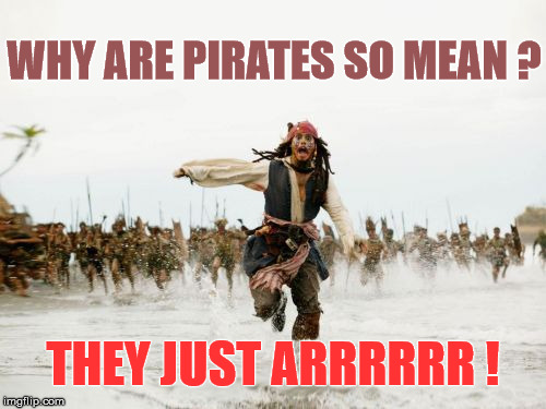 Jack Sparrow Being Chased Meme | WHY ARE PIRATES SO MEAN ? THEY JUST ARRRRRR ! | image tagged in memes,jack sparrow being chased,joke,funny,pirate | made w/ Imgflip meme maker