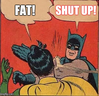 Batman Slapping Robin Meme | FAT! SHUT UP! | image tagged in memes,batman slapping robin | made w/ Imgflip meme maker