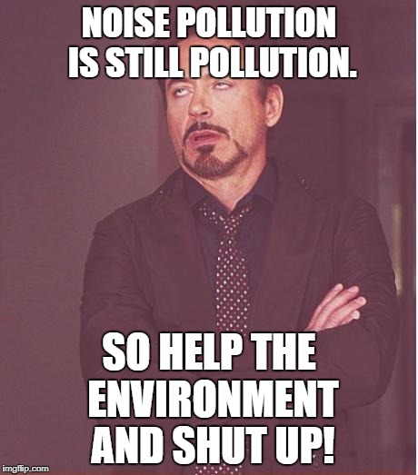 Thought of the Day by Robert Downey Jr. | NOISE POLLUTION IS STILL POLLUTION. SO HELP THE ENVIRONMENT AND SHUT UP! | image tagged in memes,face you make robert downey jr | made w/ Imgflip meme maker