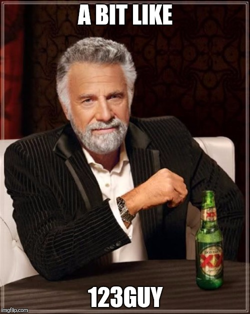 The Most Interesting Man In The World Meme | A BIT LIKE 123GUY | image tagged in memes,the most interesting man in the world | made w/ Imgflip meme maker