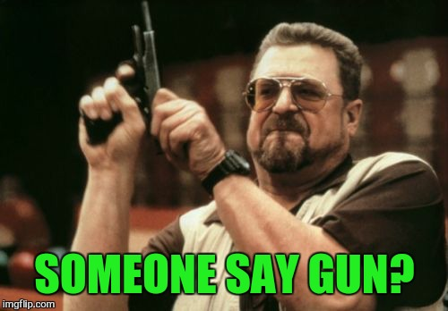Am I The Only One Around Here Meme | SOMEONE SAY GUN? | image tagged in memes,am i the only one around here | made w/ Imgflip meme maker