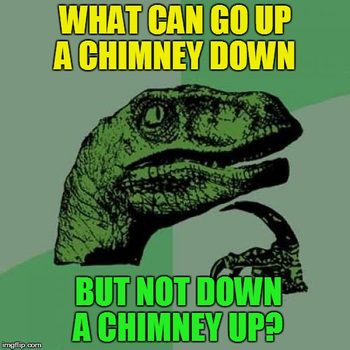 Riddle Weekend, a Craziness_all_the_way and socrates event! July 14-16 (A MiniDash Meme) | WHAT CAN GO UP A CHIMNEY DOWN BUT NOT DOWN A CHIMNEY UP? | image tagged in memes,philosoraptor,riddle weekend,riddles and brainteasers,fun,minidash | made w/ Imgflip meme maker