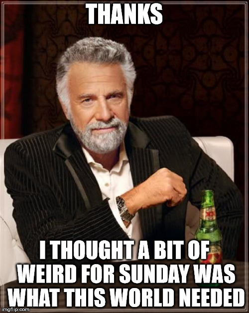 The Most Interesting Man In The World Meme | THANKS I THOUGHT A BIT OF WEIRD FOR SUNDAY WAS WHAT THIS WORLD NEEDED | image tagged in memes,the most interesting man in the world | made w/ Imgflip meme maker