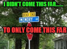 I DIDN'T COME THIS FAR....... TO ONLY COME THIS FAR | image tagged in memory lane dead end | made w/ Imgflip meme maker