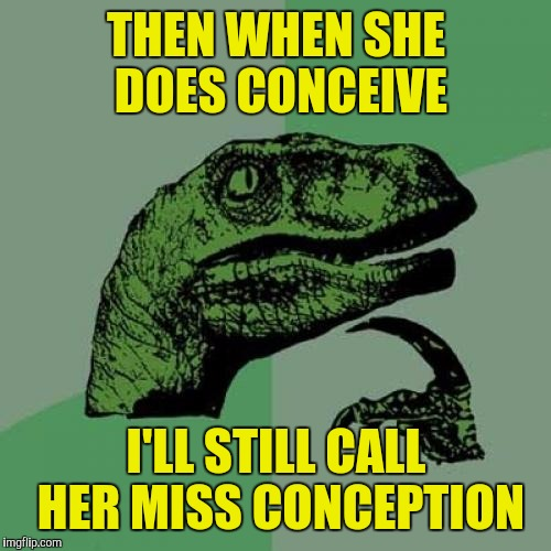 Philosoraptor Meme | THEN WHEN SHE DOES CONCEIVE I'LL STILL CALL HER MISS CONCEPTION | image tagged in memes,philosoraptor | made w/ Imgflip meme maker