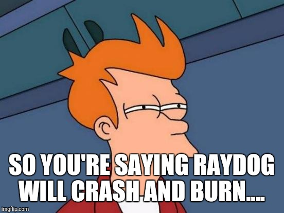 Futurama Fry Meme | SO YOU'RE SAYING RAYDOG WILL CRASH AND BURN.... | image tagged in memes,futurama fry | made w/ Imgflip meme maker