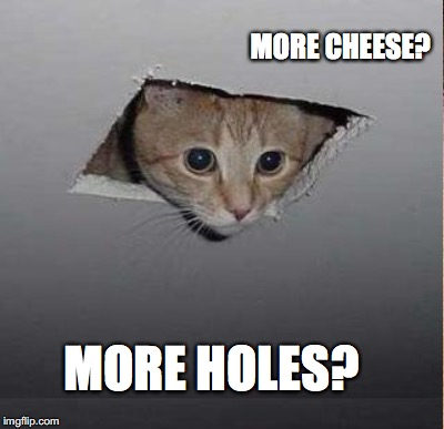 MORE HOLES? MORE CHEESE? | made w/ Imgflip meme maker