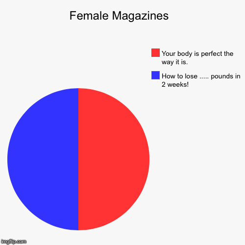 Female Magazines  | How to lose ..... pounds in 2 weeks!, Your body is perfect the way it is. | image tagged in funny,pie charts | made w/ Imgflip pie chart maker
