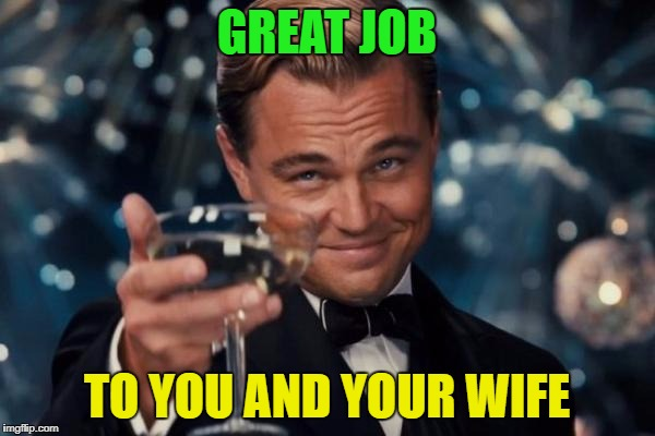 Leonardo Dicaprio Cheers Meme | GREAT JOB TO YOU AND YOUR WIFE | image tagged in memes,leonardo dicaprio cheers | made w/ Imgflip meme maker