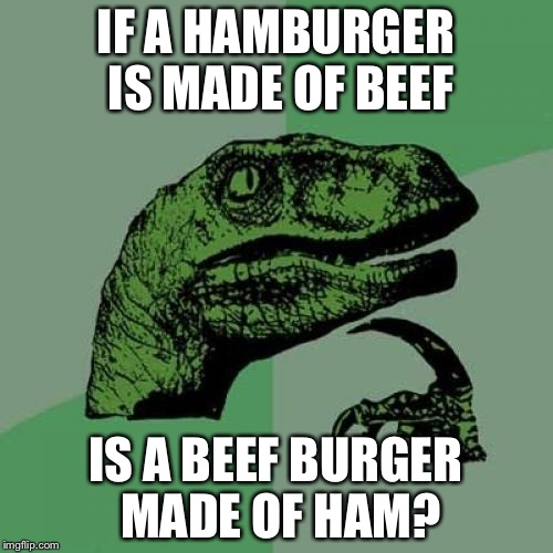 Philosoraptor Meme | IF A HAMBURGER IS MADE OF BEEF IS A BEEF BURGER MADE OF HAM? | image tagged in memes,philosoraptor | made w/ Imgflip meme maker
