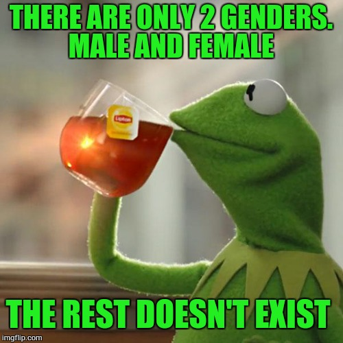 But Thats None Of My Business Meme | THERE ARE ONLY 2 GENDERS. MALE AND FEMALE THE REST DOESN'T EXIST | image tagged in memes,but thats none of my business,kermit the frog | made w/ Imgflip meme maker