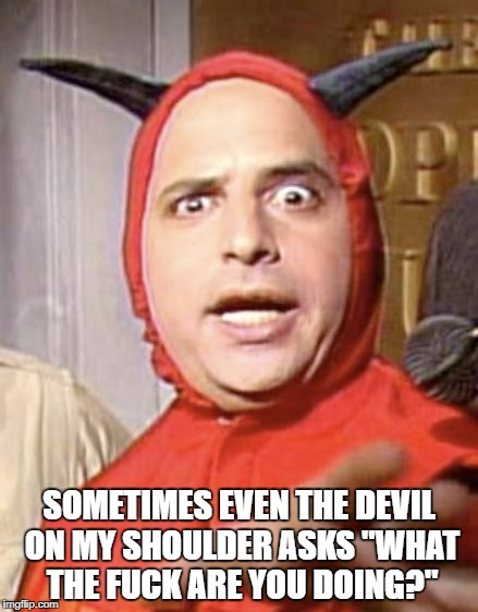 "Devilish | SOMETIMES EVEN THE DEVIL ON MY SHOULDER ASKS ""WHAT THE F**K ARE YOU DOING?"" 