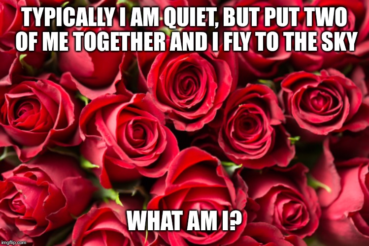 A late thing for this riddle week | TYPICALLY I AM QUIET, BUT PUT TWO OF ME TOGETHER AND I FLY TO THE SKY WHAT AM I? | image tagged in riddle,meme,event | made w/ Imgflip meme maker
