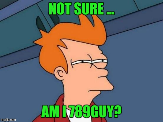 Futurama Fry Meme | NOT SURE ... AM I 789GUY? | image tagged in memes,futurama fry | made w/ Imgflip meme maker