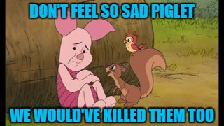 DON'T FEEL SO SAD PIGLET WE WOULD'VE KILLED THEM TOO | made w/ Imgflip meme maker