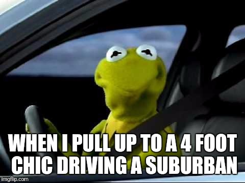Kermit | WHEN I PULL UP TO A 4 FOOT CHIC DRIVING A SUBURBAN | image tagged in kermit car,chics,cars,memes,2017,bitches | made w/ Imgflip meme maker