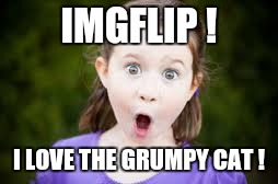 Memes, excited girl | IMGFLIP ! I LOVE THE GRUMPY CAT ! | image tagged in memes excited girl | made w/ Imgflip meme maker