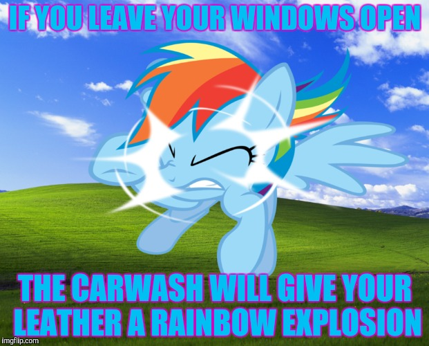 IF YOU LEAVE YOUR WINDOWS OPEN THE CARWASH WILL GIVE YOUR LEATHER A RAINBOW EXPLOSION | made w/ Imgflip meme maker