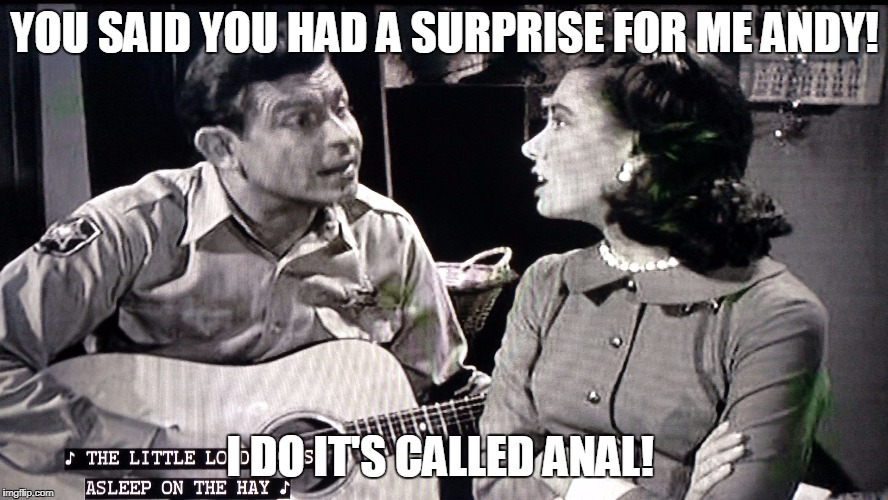 Anal Comes to Mayberry | YOU SAID YOU HAD A SURPRISE FOR ME ANDY! I DO IT'S CALLED ANAL! | image tagged in andy griffith,anal | made w/ Imgflip meme maker
