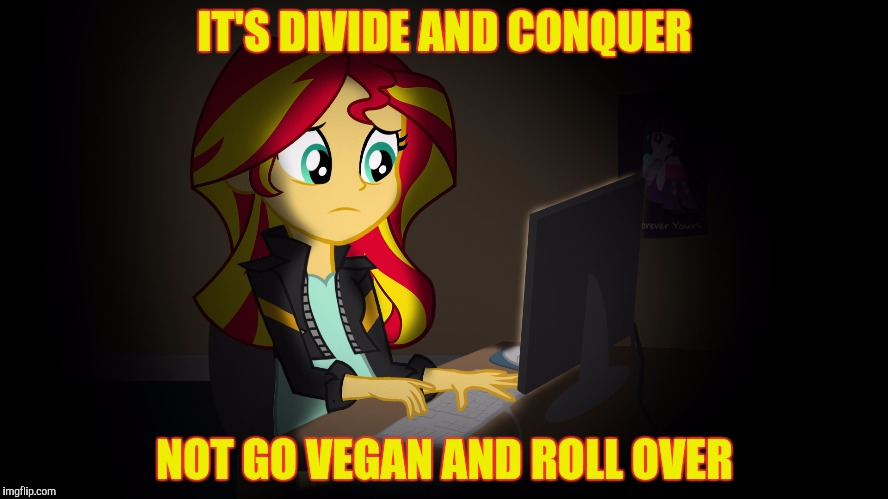 OneDoesNotSimplyFuckWithSunsetsFacebook | IT'S DIVIDE AND CONQUER NOT GO VEGAN AND ROLL OVER | image tagged in onedoesnotsimplyfuckwithsunsetsfacebook | made w/ Imgflip meme maker