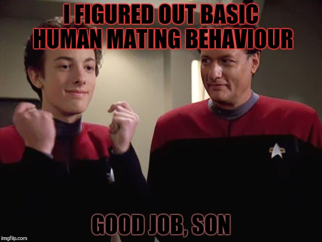 I FIGURED OUT BASIC HUMAN MATING BEHAVIOUR GOOD JOB, SON | made w/ Imgflip meme maker