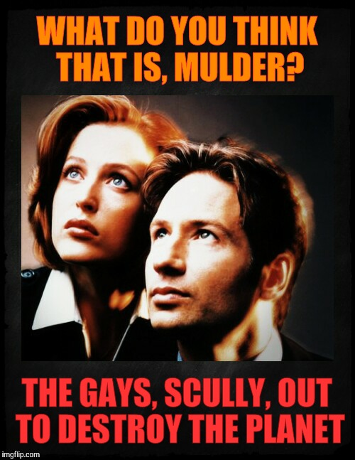 Mulder and Scully gaze to whatever,,, | WHAT DO YOU THINK THAT IS, MULDER? THE GAYS, SCULLY, OUT TO DESTROY THE PLANET | image tagged in mulder and scully gaze to whatever | made w/ Imgflip meme maker