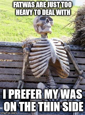 Waiting Skeleton Meme | FATWAS ARE JUST TOO HEAVY TO DEAL WITH I PREFER MY WAS ON THE THIN SIDE | image tagged in memes,waiting skeleton | made w/ Imgflip meme maker