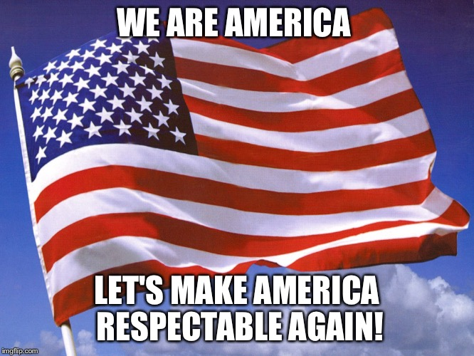 WE ARE AMERICA LET'S MAKE AMERICA RESPECTABLE AGAIN! | image tagged in america | made w/ Imgflip meme maker