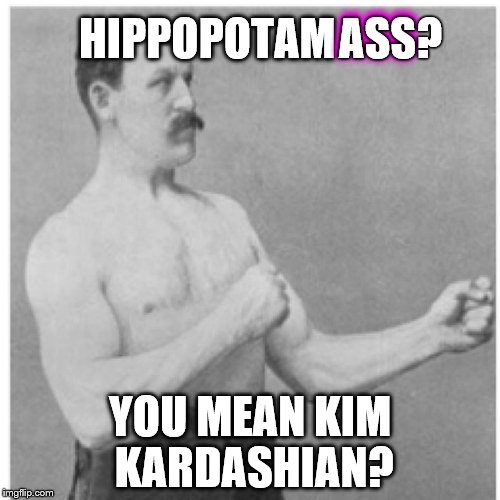 Overly Manly Man | HIPPOPOTAM YOU MEAN KIM KARDASHIAN? ASS ASS? | image tagged in memes,overly manly man,kim kardashian | made w/ Imgflip meme maker