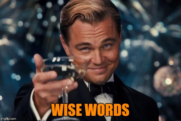 Leonardo Dicaprio Cheers Meme | WISE WORDS | image tagged in memes,leonardo dicaprio cheers | made w/ Imgflip meme maker