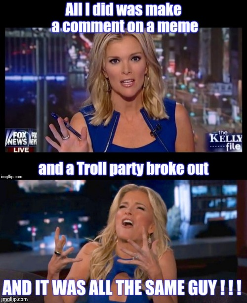 This happens too much 'round these parts , Buckaroos | image tagged in megyn kelly,troll,party,alt using trolls,talking,your argument is invalid | made w/ Imgflip meme maker