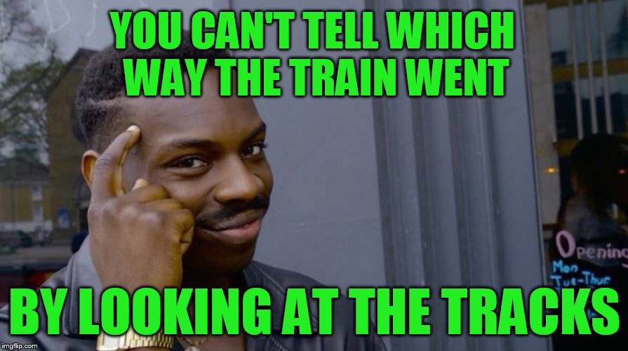 Roll Safe Think About It | YOU CAN'T TELL WHICH WAY THE TRAIN WENT BY LOOKING AT THE TRACKS | image tagged in smart eddie murphy | made w/ Imgflip meme maker