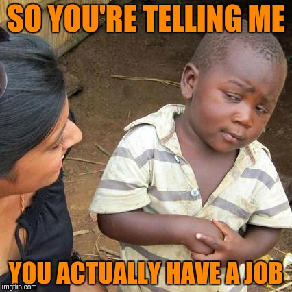 Third World Skeptical Kid Meme | SO YOU'RE TELLING ME YOU ACTUALLY HAVE A JOB | image tagged in memes,third world skeptical kid | made w/ Imgflip meme maker