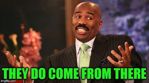 Steve Harvey Meme | THEY DO COME FROM THERE | image tagged in memes,steve harvey | made w/ Imgflip meme maker